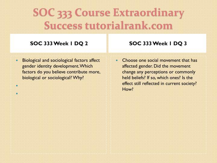 SOC 333 Week 1 DQ 2