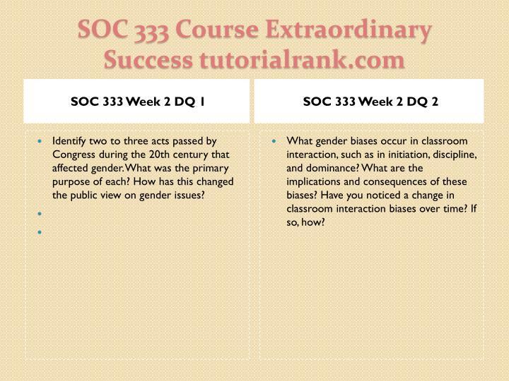SOC 333 Week 2 DQ 1