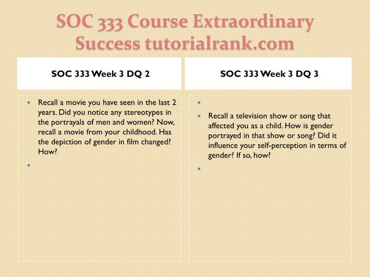SOC 333 Week 3 DQ 2