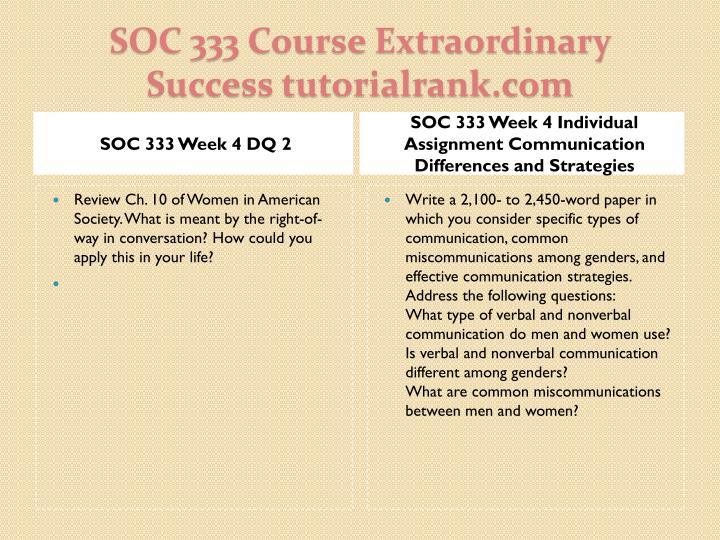 SOC 333 Week 4 DQ 2