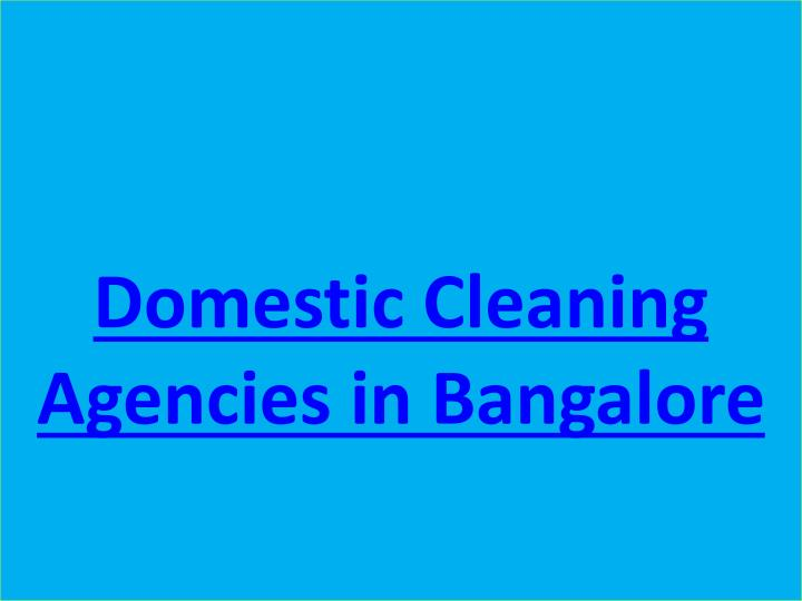 Domestic Cleaning Agencies in Bangalore