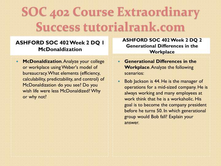 ASHFORD SOC 402 Week 2 DQ 1 McDonaldization