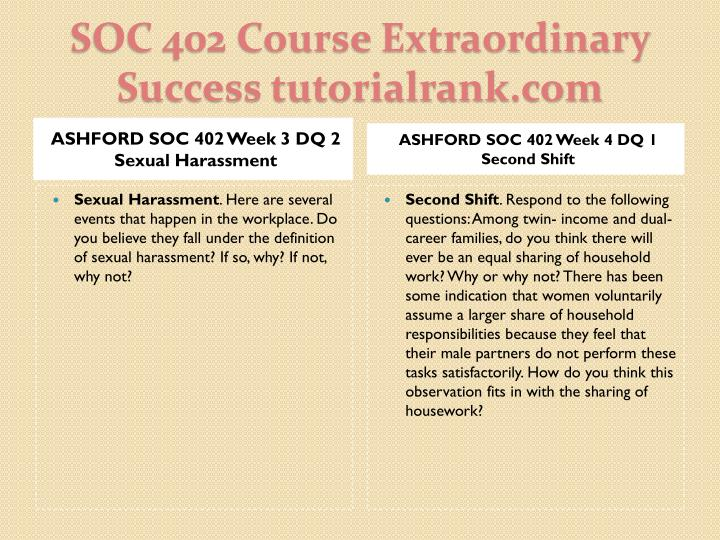ASHFORD SOC 402 Week 3 DQ 2 Sexual Harassment