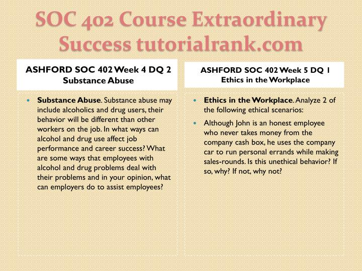 ASHFORD SOC 402 Week 4 DQ 2 Substance Abuse