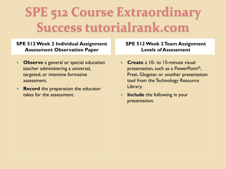 SPE 512 Week 2 Individual Assignment Assessment Observation Paper