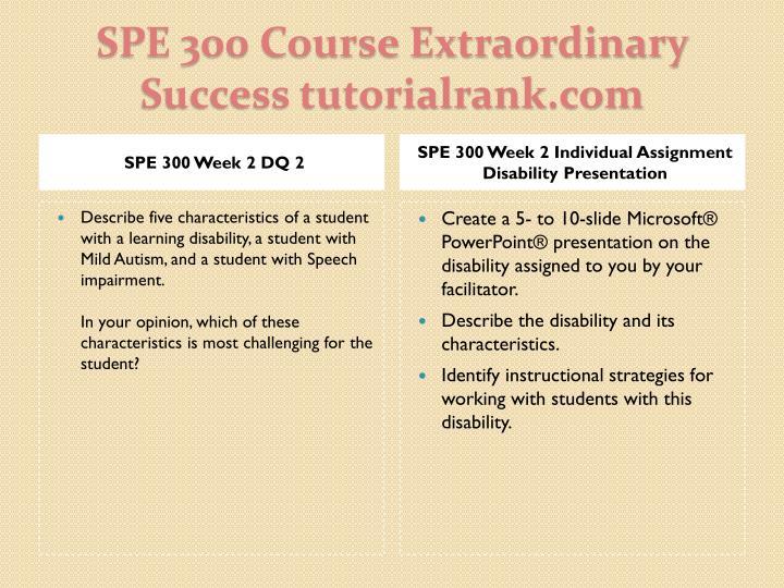 SPE 300 Week 2 DQ 2