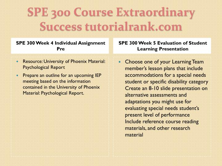 SPE 300 Week 4 Individual Assignment Pre