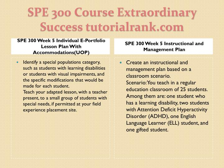 SPE 300 Week 5 Individual E-Portfolio Lesson Plan With Accommodations(UOP)