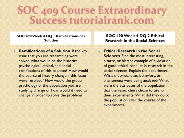 SOC 409 Course Extraordinary  Success tutorialrank.com