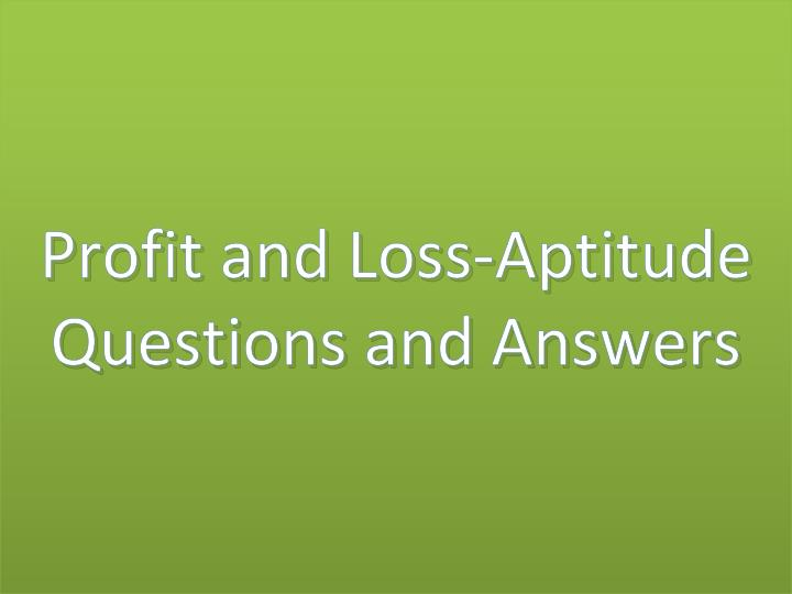 Profit and Loss-Aptitude