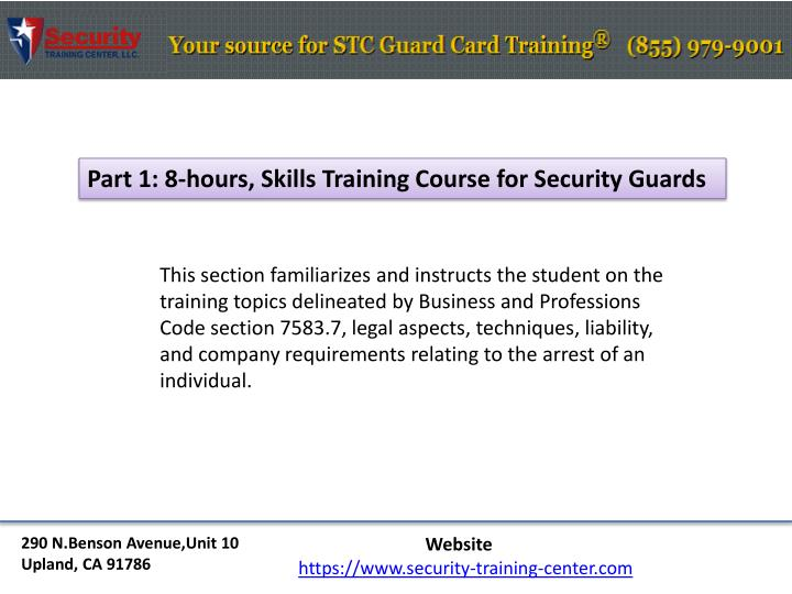 Part 1: 8-hours, Skills Training Course for Security Guards