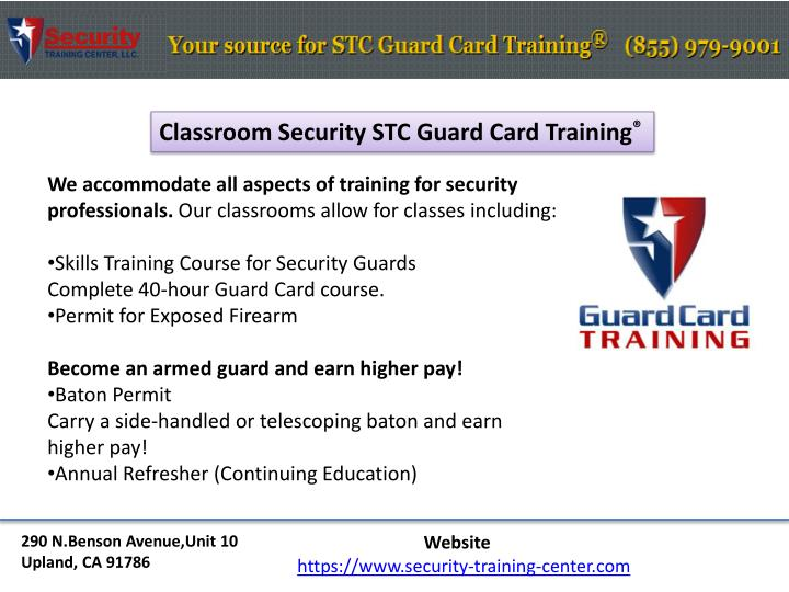 Classroom Security STC Guard Card Training