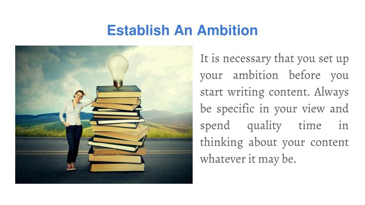 Establish An Ambition