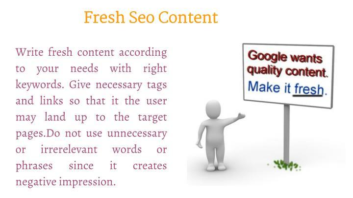 Fresh Seo Content
