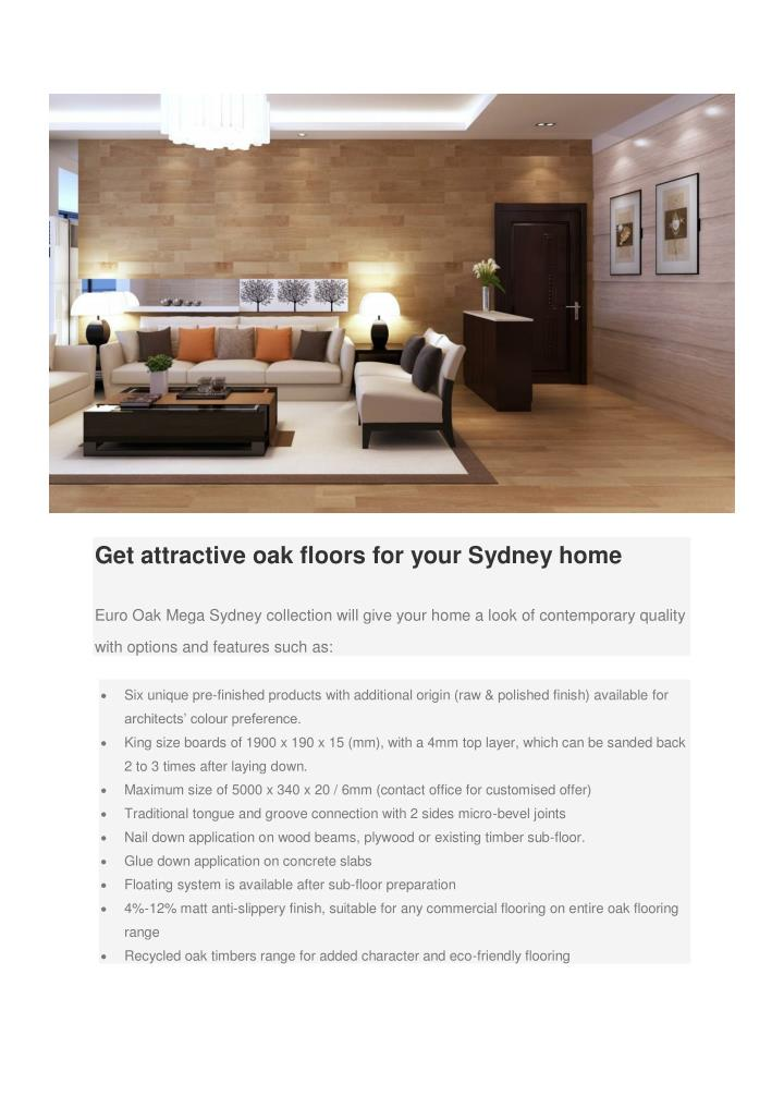 Get attractive oak floors for your Sydney home