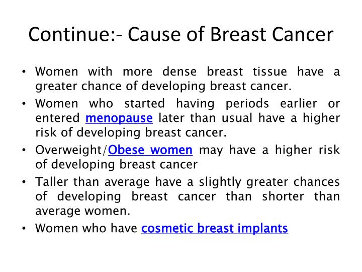 Continue:- Cause of Breast Cancer