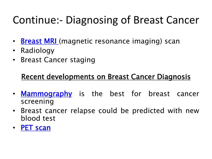 Continue:- Diagnosing of Breast Cancer