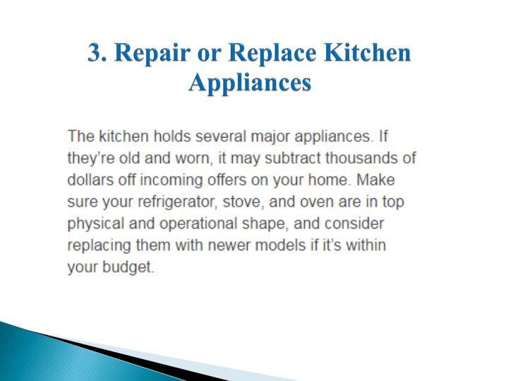 3. Repair or Replace Kitchen Appliances