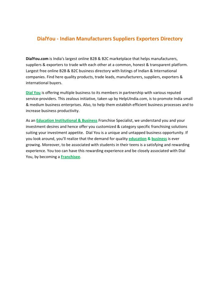 DialYou - Indian Manufacturers Suppliers Exporters Directory