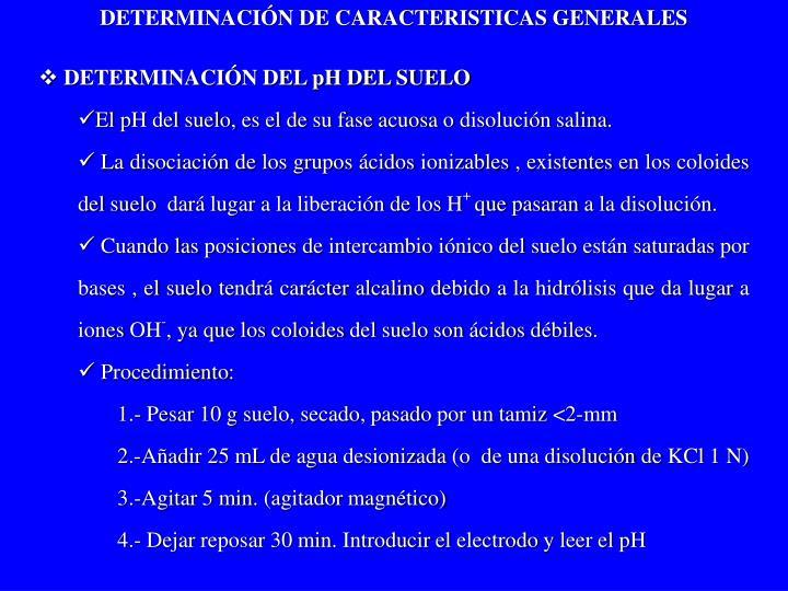 DETERMINACIÓN DE CARACTERISTICAS GENERALES