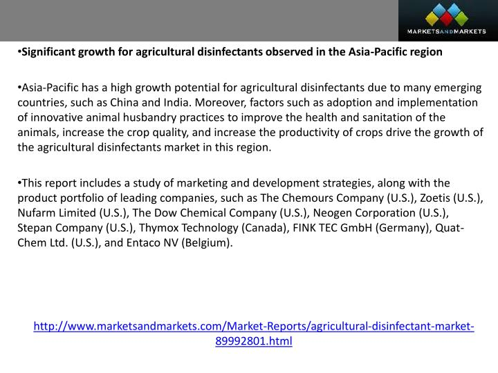 Significant growth for agricultural disinfectants observed in the Asia-Pacific region