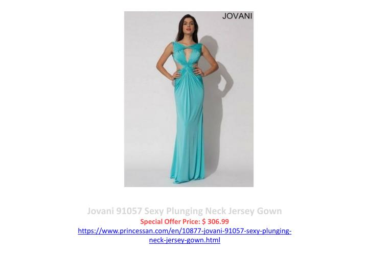 Jovani 91057 Sexy Plunging Neck Jersey Gown