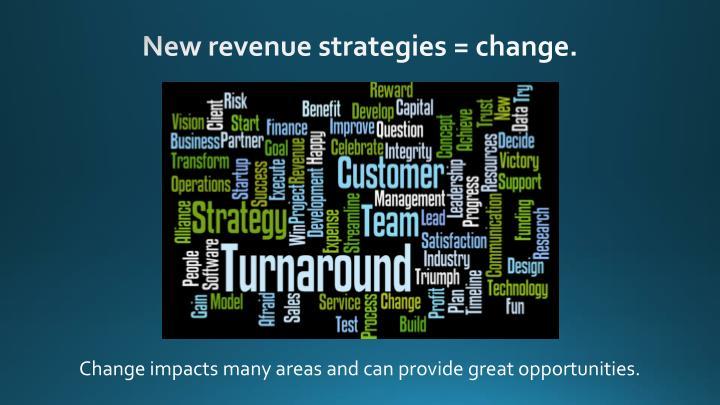 New revenue strategies = change.
