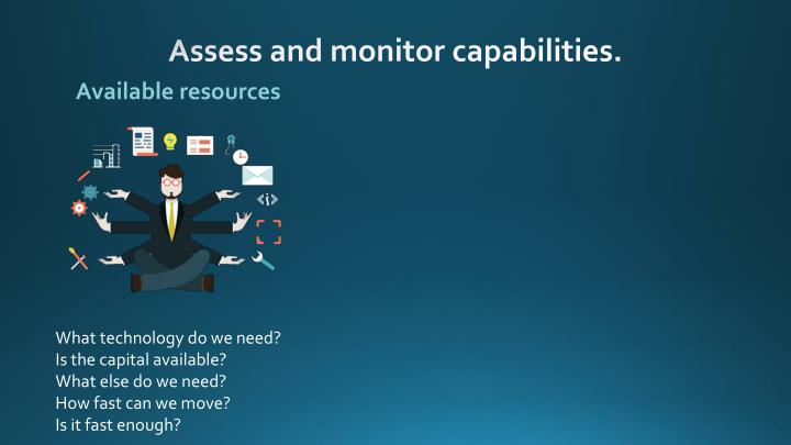 Assess and monitor capabilities.