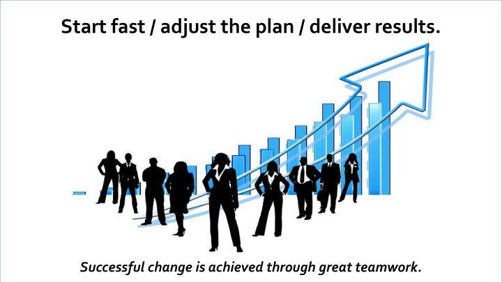 Start fast / adjust the plan / deliver results.