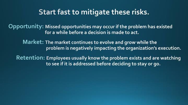 Start fast to mitigate