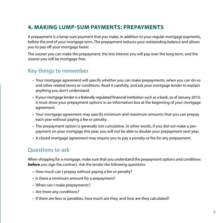 4. MAking lUMP-sUM PAYMents: PrePAYMents