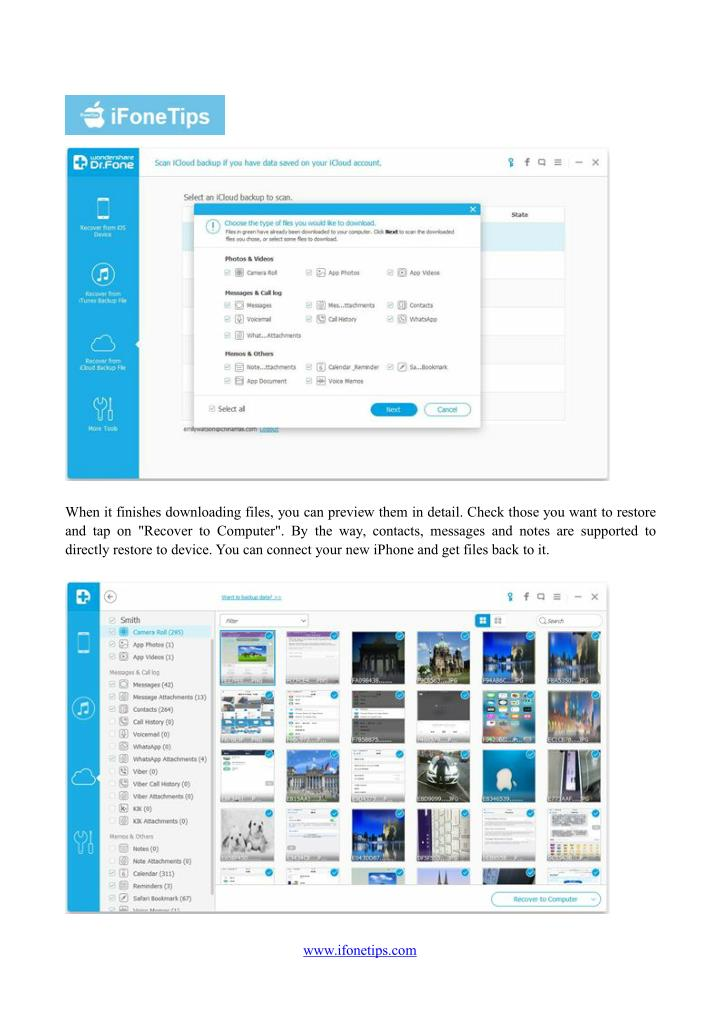 When it finishes downloading files, you can preview them in detail. Check those you want to restore