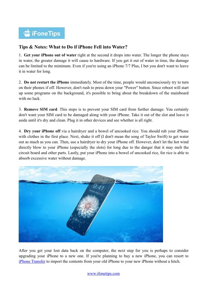 Tips & Notes: What to Do if iPhone Fell into Water?