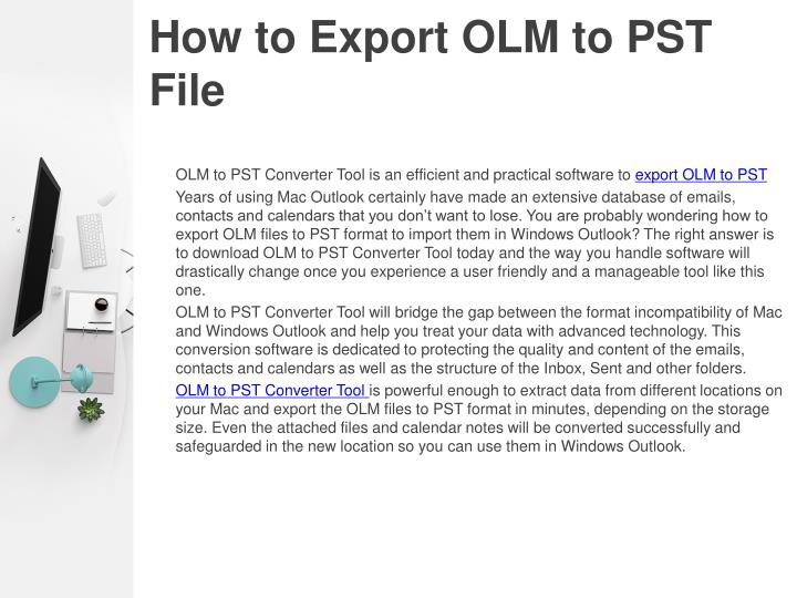 How to export olm to pst file