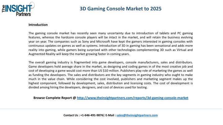 3D Gaming Console Market to 2025