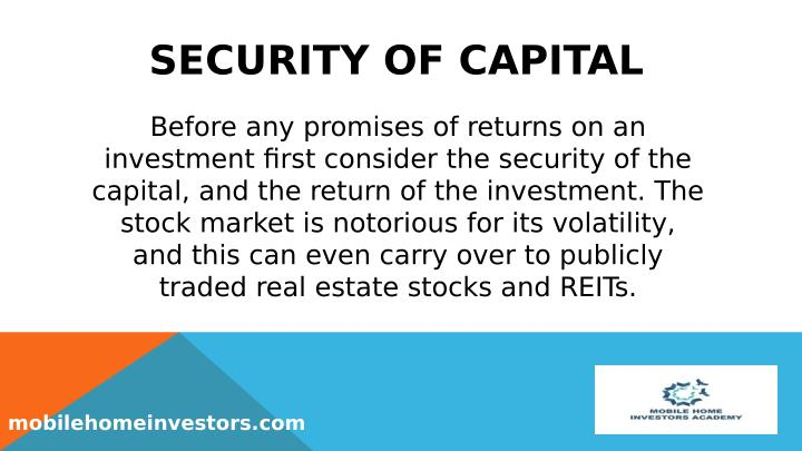SECURITY OF CAPITAL