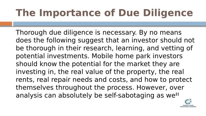 The Importance of Due Diligence