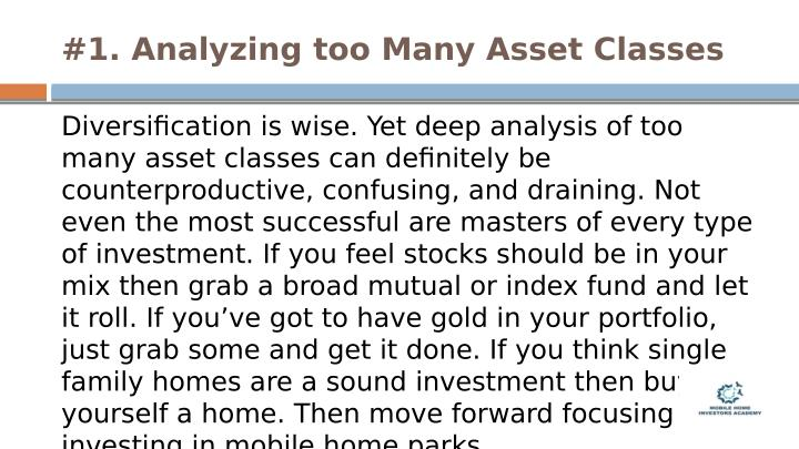 #1. Analyzing too Many Asset Classes