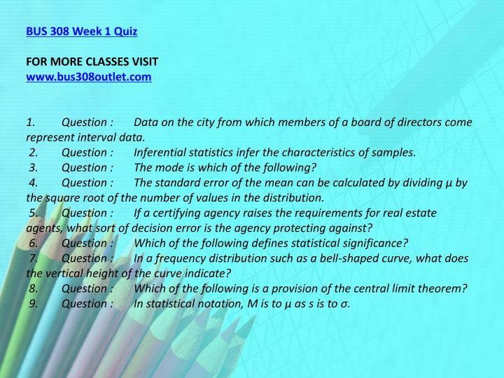 BUS 308 Week 1 Quiz