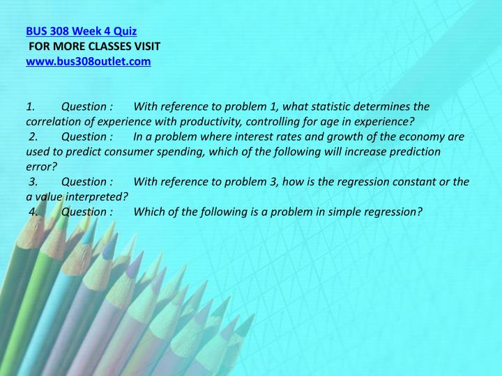 BUS 308 Week 4 Quiz