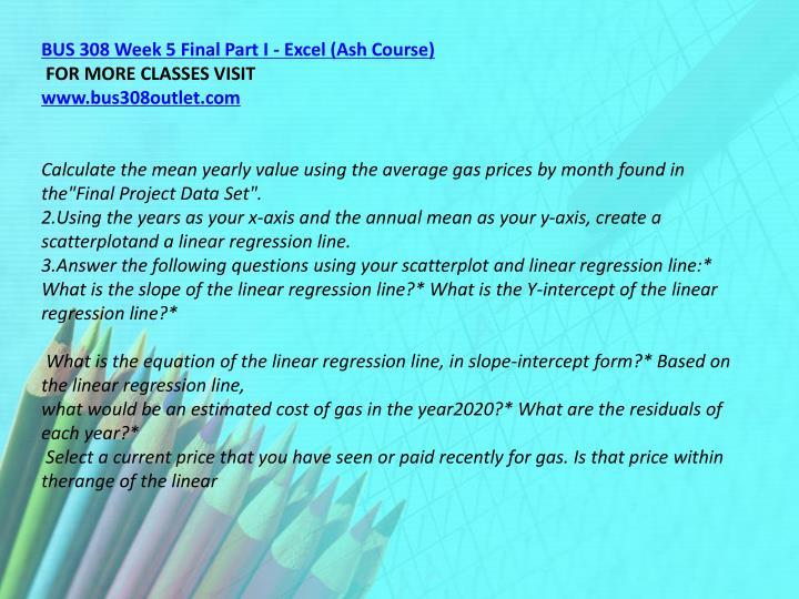 BUS 308 Week 5 Final Part I - Excel (Ash Course)