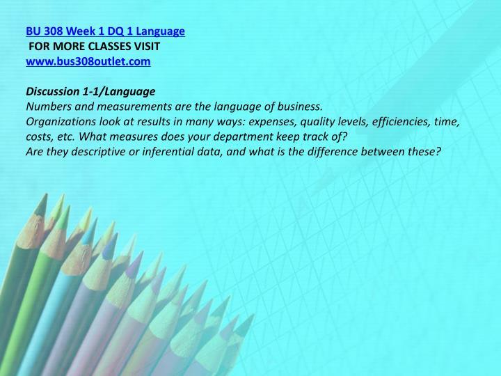 BU 308 Week 1 DQ 1 Language