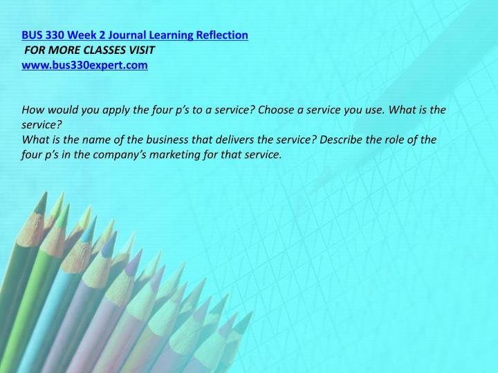 BUS 330 Week 2 Journal Learning Reflection