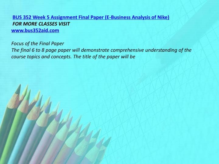 BUS 352 Week 5 Assignment Final Paper (E-Business Analysis of Nike)
