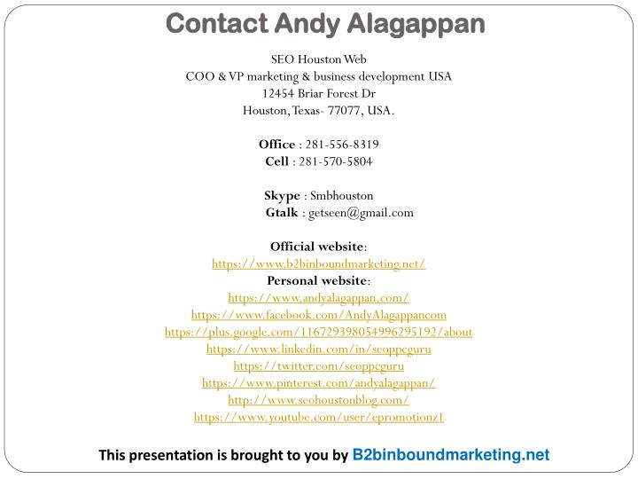 Contact Andy Alagappan