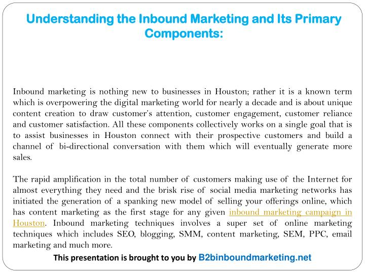Understanding the Inbound Marketing and Its Primary Components: