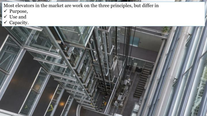 Most elevators in the market are work on the three principles, but differ in