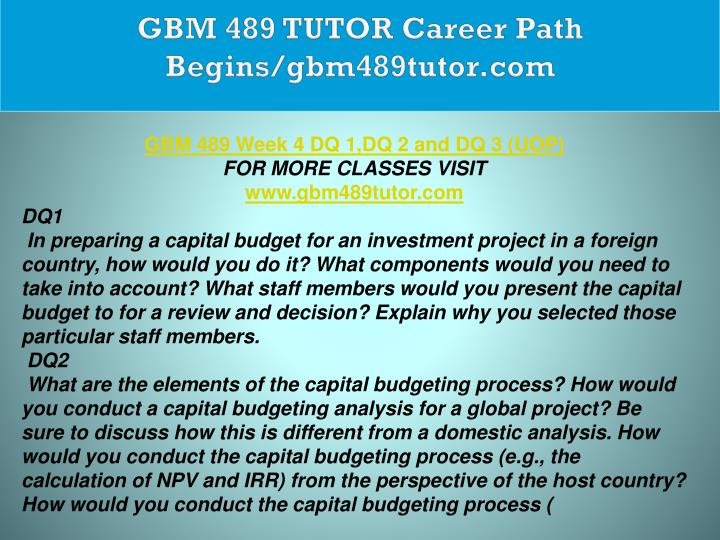 GBM 489 TUTOR Career Path Begins/gbm489tutor.com
