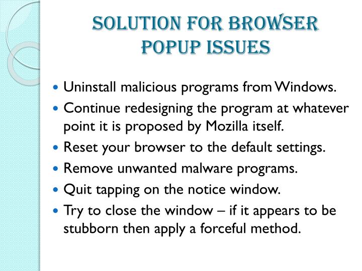 Solution For Browser Popup Issues