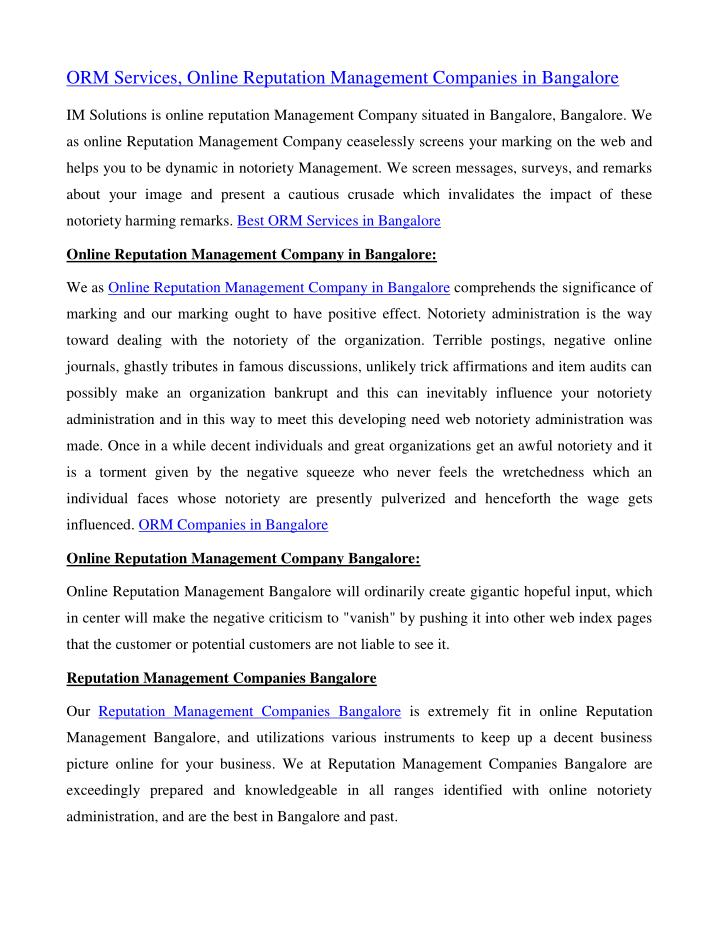 ORM Services, Online Reputation Management Companies in Bangalore